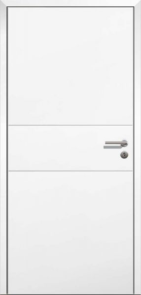 Stumpfeinschlagende Design Innentür Style 8 Weißlack mit Zarge