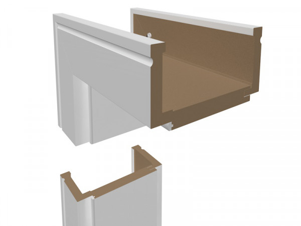 Wohnungseingangszarge Weißlack Profilkante 90mm