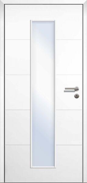 Stumpfeinschlagende Design Innentür Style 1 Weißlack LA1 mittig mit Zarge