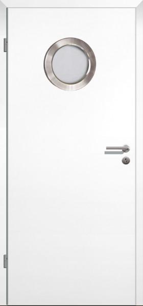 Weißlack ähnlich RAL9010 Innentür eckige Designkante mit Bullauge